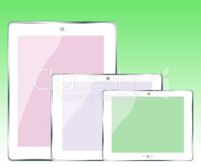 tablet pc set on green vector background
