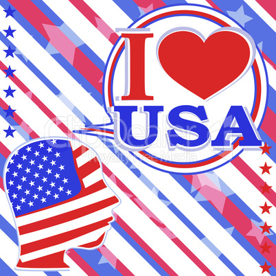 i love usa. USA flag man with speech bubbles