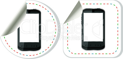 Black smart phone with touch screen blank stickers label set