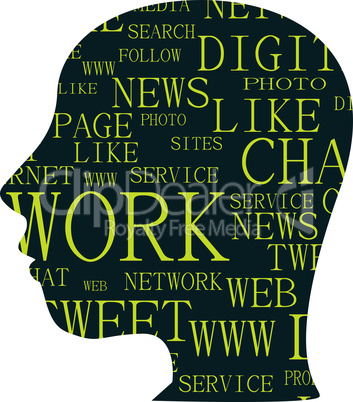 silhouette of head with the words on the topic of social networking