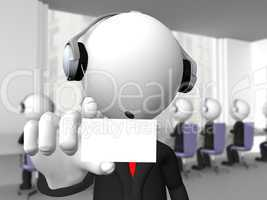 Call center operator with headphones and microphone showing a bl