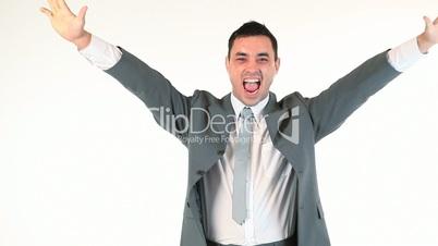 Businessman showing his success