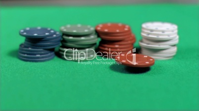 Poker chips placing in super slow motion