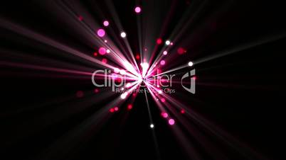Pink dots moving and coming from a shining star