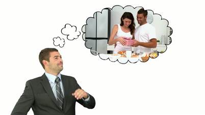 Businessman thinking to buy a gift to his wife