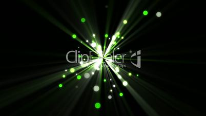 Green dots moving and coming from a shining star