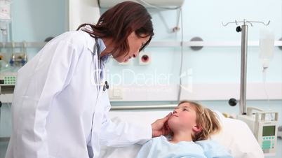 Doctor talking to a child