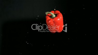 Red bell pepper rotating in super slow motion