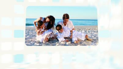 Family enjoying their summer at beach