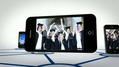 Graduate students videos on smartphone screens