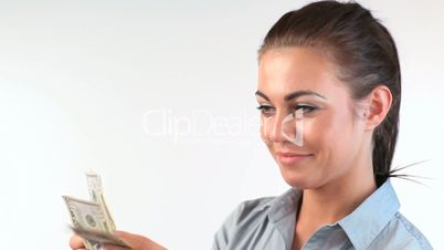 Woman counting dollars banknotes