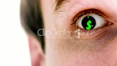 Man with dollar symbol in his eye in slow motion