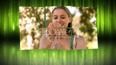 Videos in slow motion of women in a park