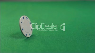 Poker chip turning in super slow motion