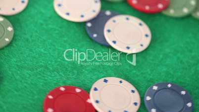 Gambling coins thrown on a gambling table