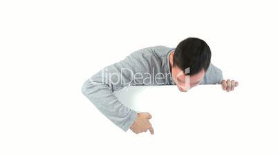 Man showing up beside a board