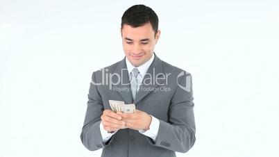 Businessman kissing banknotes
