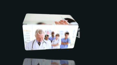 Medical videos against black background