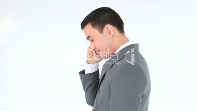 Businessman calling with his phone