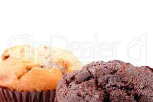 Close up of chocolate muffin and regular muffin