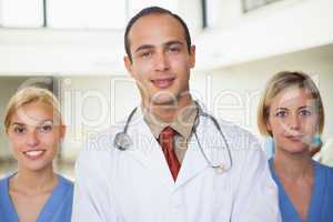 Doctor and a nurse on both sides