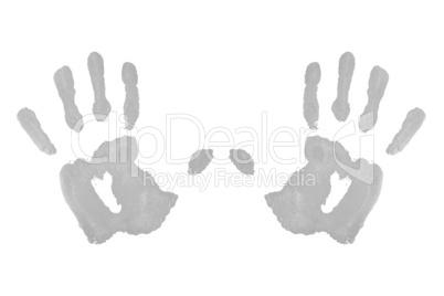 Two grey symmetric handprints