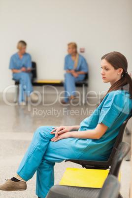 Intern waiting on a chair