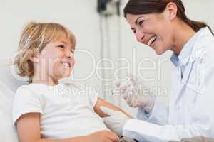 Child receiving an injection