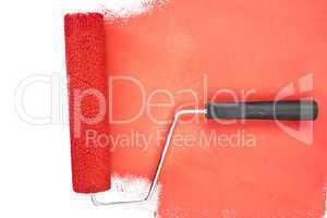 Horizontal red  brush stroke