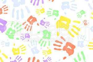 Multi colored handprints