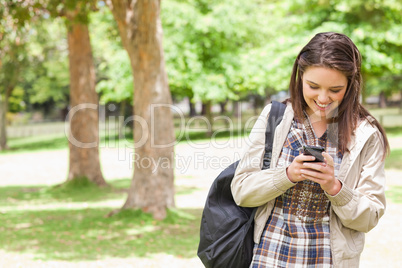Young student using a smartphone