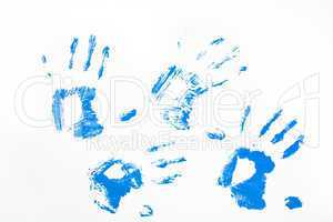 Four blue handprints