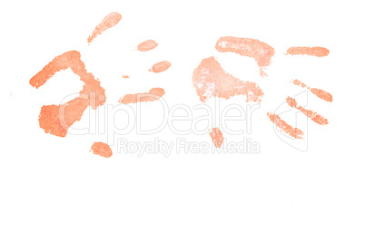 Two red handprints