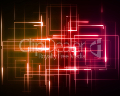 Multiple orange and pink geometric lights
