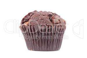Close up of a fresh baked chocolate muffin
