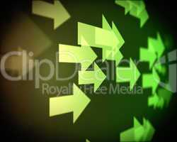 Background of multiple green arrows