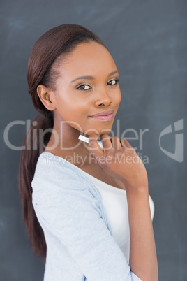 Thoughtful black woman looking at camera