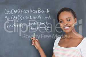 Student showing a blackboard