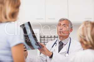 Doctor explaining the X-ray to patients