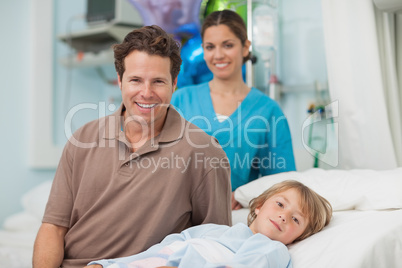 Child lying on a medical bed