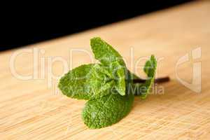 Mint on a chopping board
