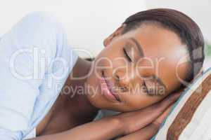 Black woman with closed eyes