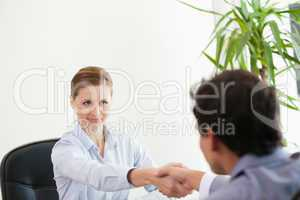 Businesspeople looking each other while shaking hands