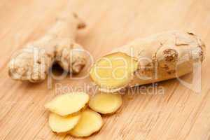 Slice of ginger and piece of ginger