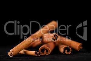 Cinnamon sticks piled up