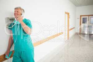 Surgeon holding a phone