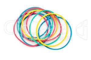 Group of multi coloured elastics