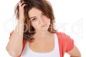 Junge Frau überdenkt eine Entscheidung