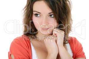 Junge Frau mit sentimentaler Mimik