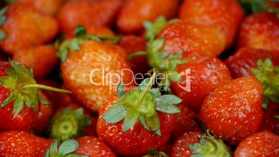 Rotation of delicious strawberry.